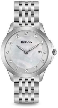 Bulova Women's Diamond Marker Quartz Bracelet Watch, 36mm - 0.06 ctw