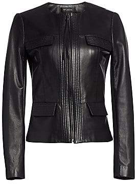 St. John Women's Nappa Leather Pocket Detail Jacket