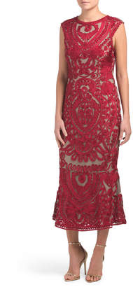 Sleeveless Soutache Lace Midi Gown
