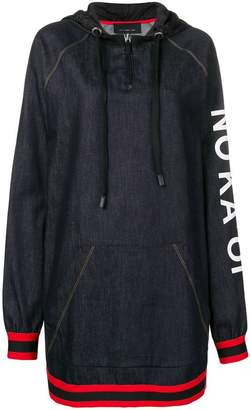 NO KA 'OI No Ka' Oi printed stripe trim zip hoodie dress