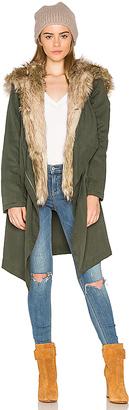BB Dakota Gerrard Jacket with Faux Fur Trim in Army $200 thestylecure.com