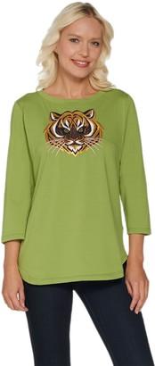 Bob Mackie Bob Mackie's Embroidered Sequin Animal Knit T-Shirt