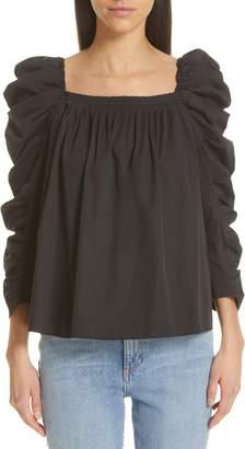 Kate Spade Square Neck Puff Sleeve Poplin Blouse
