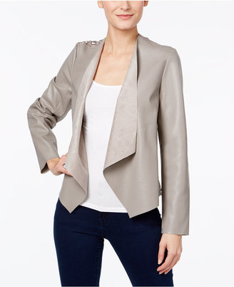 INC International Concepts Lace-Back Faux-Leather Jacket, Only at Macy's $89.50 thestylecure.com