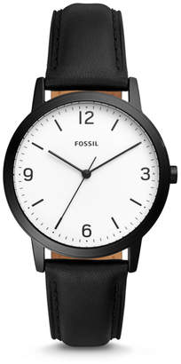 Fossil Blake Three-Hand Black Leather Watch