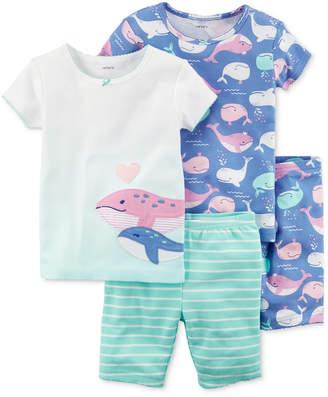 Carter's 4-Pc. Whale Printed Cotton Pajamas Set, Baby Girls