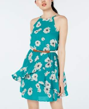 BCX Juniors' Printed Ruffle-Front Dress with Belt