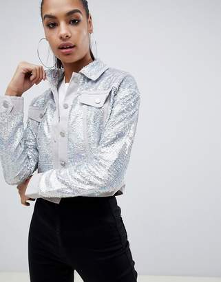 Missguided sequin trucker jacket