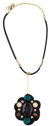 Marni Leather, Resin and Crystal Pendant Necklace