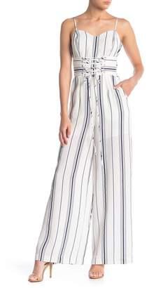 J.o.a. Striped Lace-Up Corset Jumpsuit