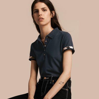 Burberry Burberry Check Trim Stretch Cotton Piqué Polo Shirt