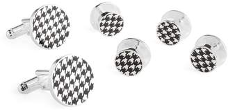 Brooks Brothers Sterling Silver Houndstooth Cuff Link Stud Set