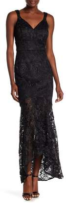 Nicole Miller New York V-Neck Lace Mermaid Dress