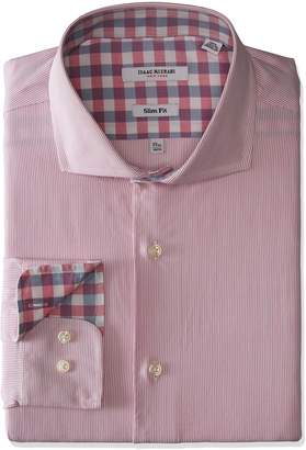 Isaac Mizrahi Men's Slim Fit Stripe Cut Away Collar Dress Shirt