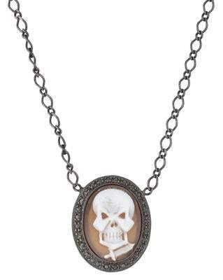 Amedeo Diamond & Shell Skull Cameo Necklace