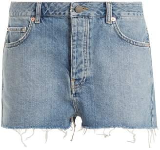 Raey Hawaii raw-cut distressed denim shorts