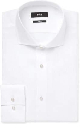 HUGO BOSS Blue Jason Slim-Fit Slub Linen Shirt - Men - White