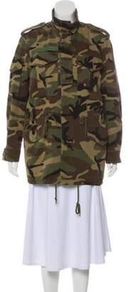 Saint Laurent Button-Up Camouflage Jacket Green Button-Up Camouflage Jacket