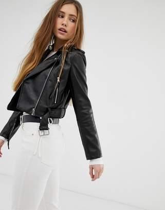 Bershka PU cropped jacket in black