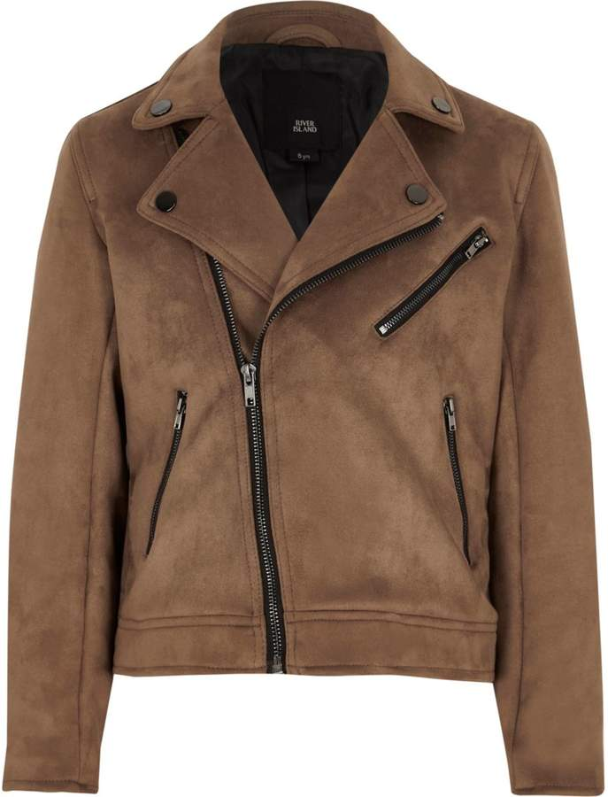 Boys Brown faux suede biker jacket