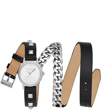 Rebecca Minkoff BFFL Chain and Leather Strap Watch, 25mm