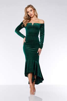 d4e7c9b1d12 Quiz Black And Silver Velvet Glitter Dip Hem Maxi Dress
