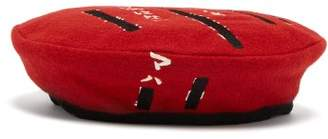 MHI Embroidered Wool Beret - Womens - Red