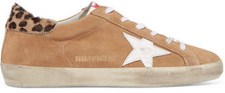 Golden Goose Superstar Calf Hair-trimmed Distressed Suede Sneakers - Beige