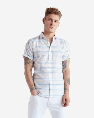 Express Slim Horizontal Stripe Short Sleeve Cotton Shirt