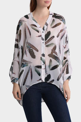 Feather Print Oversized Batwing Top