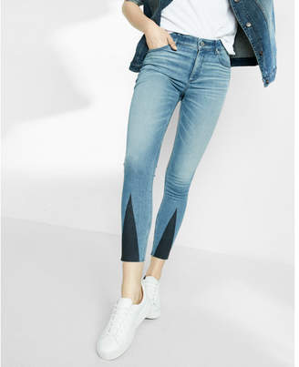 Express high waisted stretch+performance triangle pieced ankle jean leggings