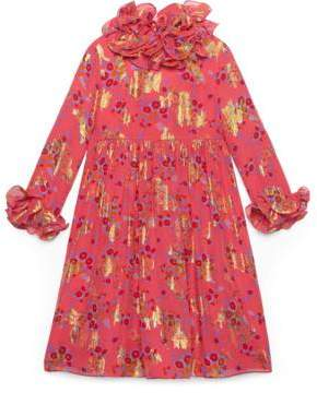 Gucci Children's bouquets print silk dress