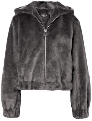 Helmut Lang Hooded Faux Fur Bomber Jacket - Gray