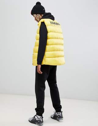 Napapijri Akke oversized vest with back logo in yellow