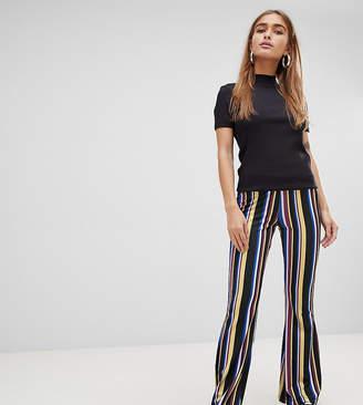 Asos DESIGN Petite flare PANTS in multi stripe