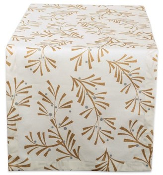 """DII 100% Cotton, Machine Washable, Printed Metallic Table Runner For Parties, Christmas & Holidays - 14x72"""", Metallic Holly Leaves"""
