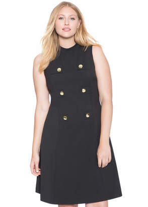 ELOQUII Fit and Flare Military Dress