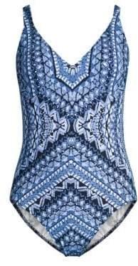Gottex Swim Printed Crochet Back One-Piece