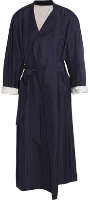 Oceane Belted Striped Twill Coat - Midnight blue