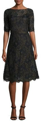 Rickie Freeman for Teri Jon Scalloped Floral Lace Cocktail Dress, Black/Gold $600 thestylecure.com