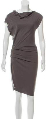 Helmut Lang Wool Draped Dress Grey Wool Draped Dress