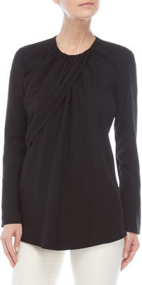 Derek Lam Ruched Long Sleeve Silk Blouse