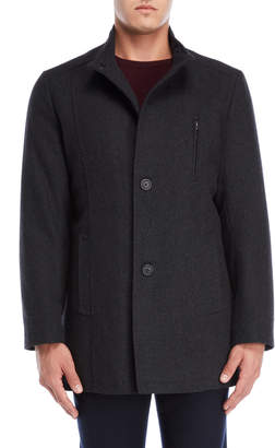 Tommy Hilfiger Charcoal Birch Stand Collar Coat