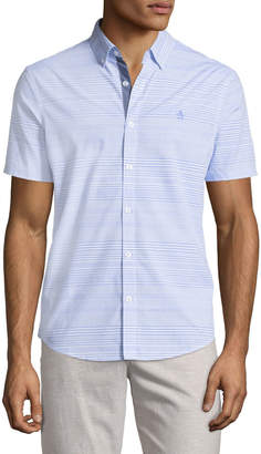 Original Penguin Horizontal-Striped Short-Sleeve Sport Shirt