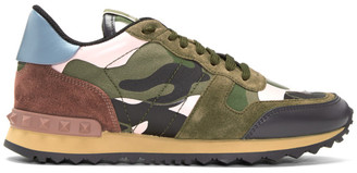 Valentino Green & Pink Camo Rockrunner Sneakers $795 thestylecure.com