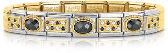 Nomination Classic Paves Golden Stainless Steel Bracelet w/Black Stone and Cubic Zirconia
