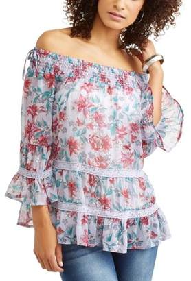 Tru Self Women's On and Off the Shoulder Floral Top