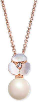 Kate Spade Rose Gold-Tone Pave & Imitation Pearl Pendant Necklace