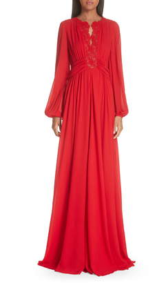 Giambattista Valli Long Sleeve Lace Trim Evening Dress