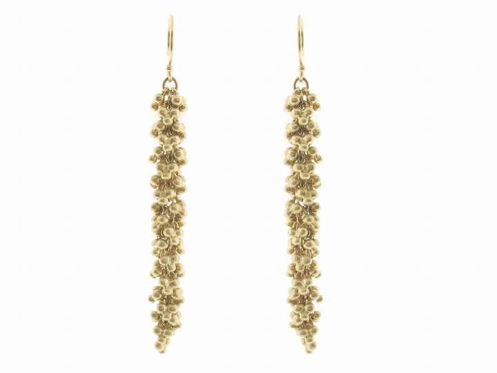 Me & Ro Long Indian Flower Bead Clusters in 10 Karat Gold